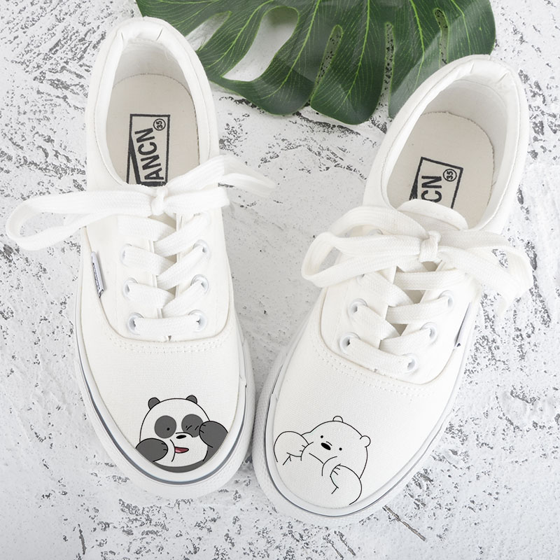 Shoes female summer 2020 versatile small white shoes hand painted canvas shoes female Korean students flat bottom casual single shoes college style