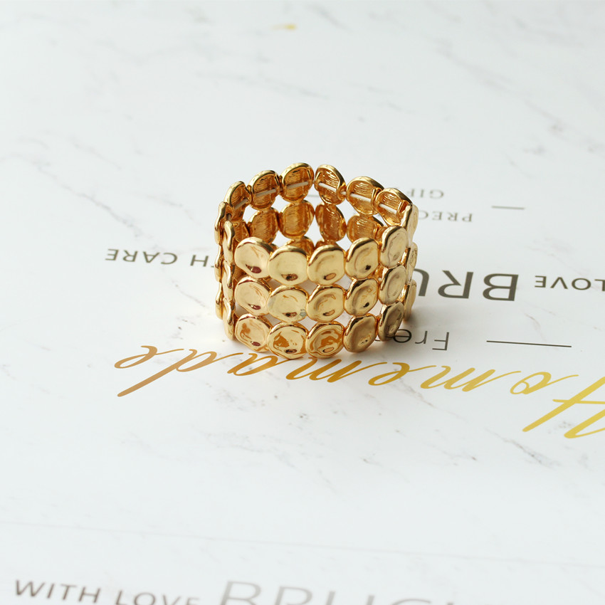7 Nordic indifference, simple and versatile gold wide concave convex small disc elastic rope bracelet