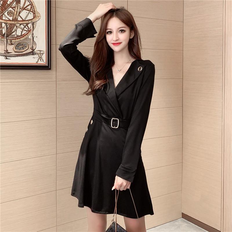 實拍~新款秋冬韓版釘扣西裝領長袖連衣裙女氣質顯瘦小黑裙9101#