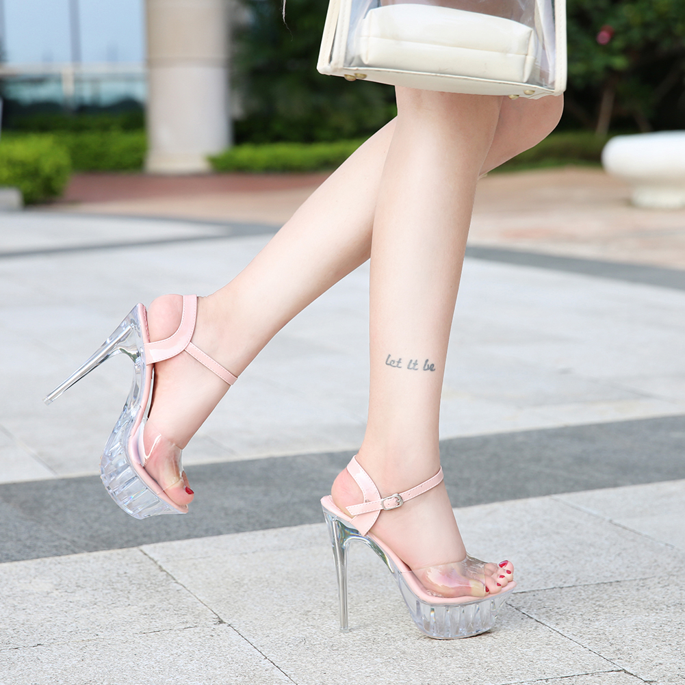 Crystal super high heeled shoes steel pipe dance shoes Hentian high thin heeled platform sandals art shoes Wedding Shoes Pink Black