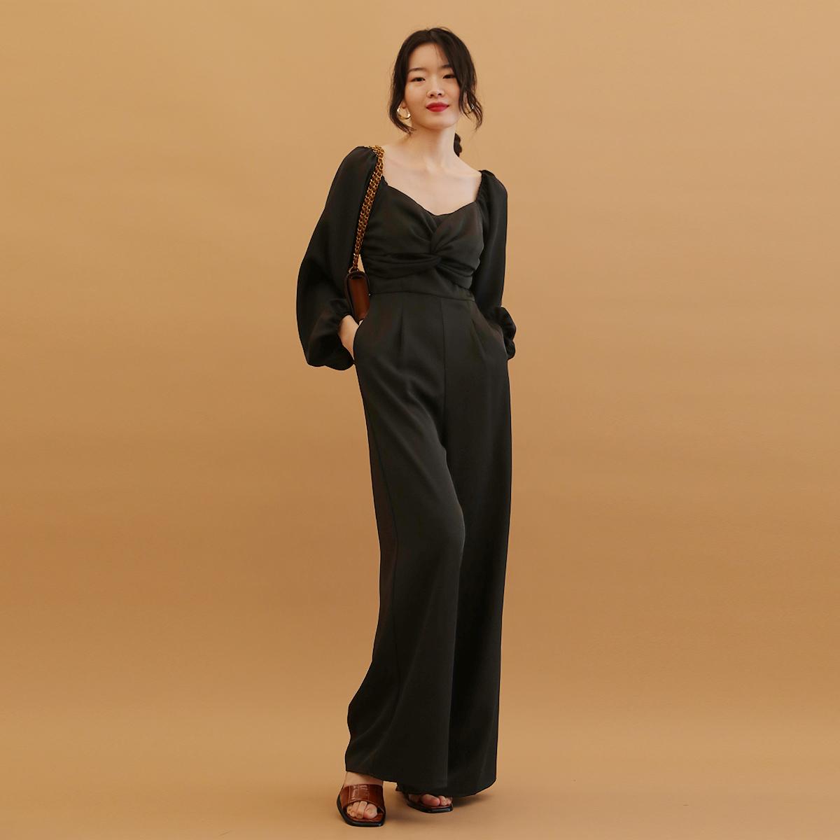 TANSSHOP比例chao好大长腿 扭结设计显瘦长袖连体裤阔腿长裤女