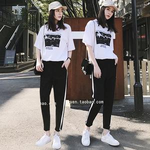 套裝女原宿夏季新款時尚兩件套學院風韓版寬松運動休閑學生