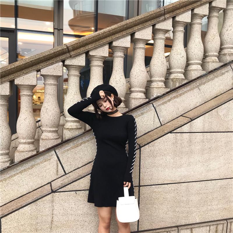 实拍A626  针织连衣裙女2017新款长袖A字裙圆领中长裙毛衣打底裙