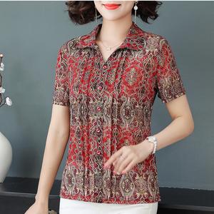 中老年女装夏季薄翻领蕾丝短袖网纱T恤衬衫半开领套头妈妈装上衣