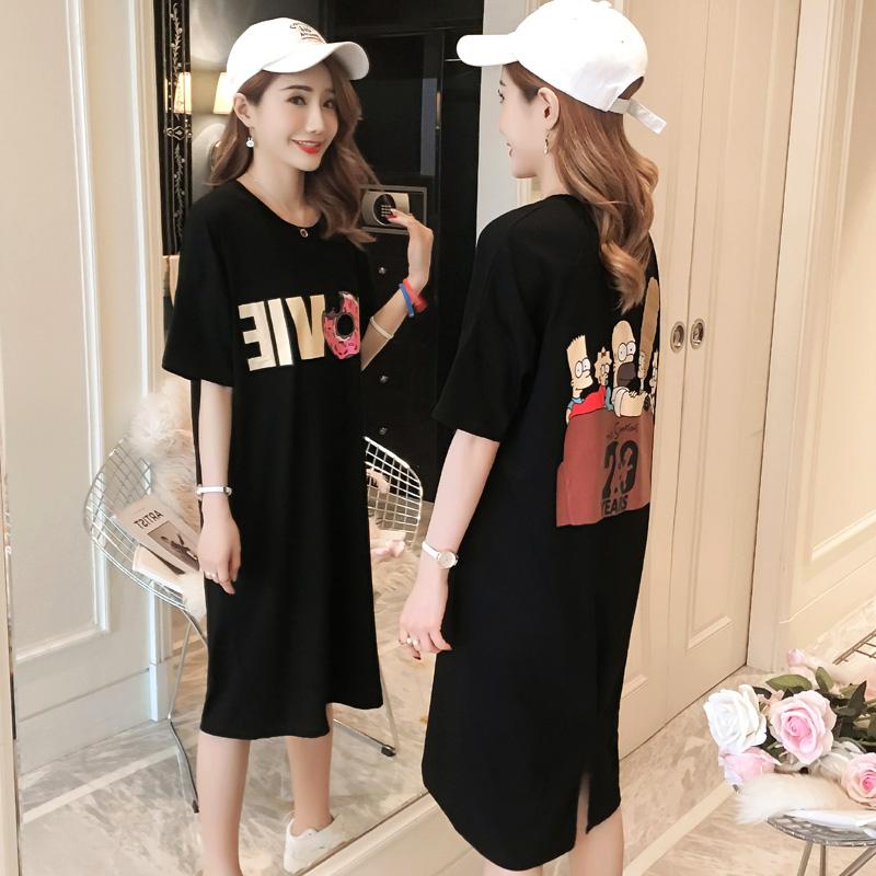韩版连衣裙2018新款女装夏季宽松中长款短袖T恤裙黑色显瘦大码裙