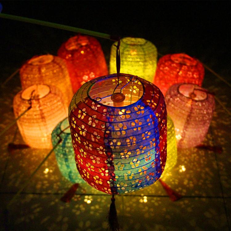 冬瓜鏤空紙燈籠兒童舞蹈中秋節手提發光燈籠漢服拍攝道具古風花燈