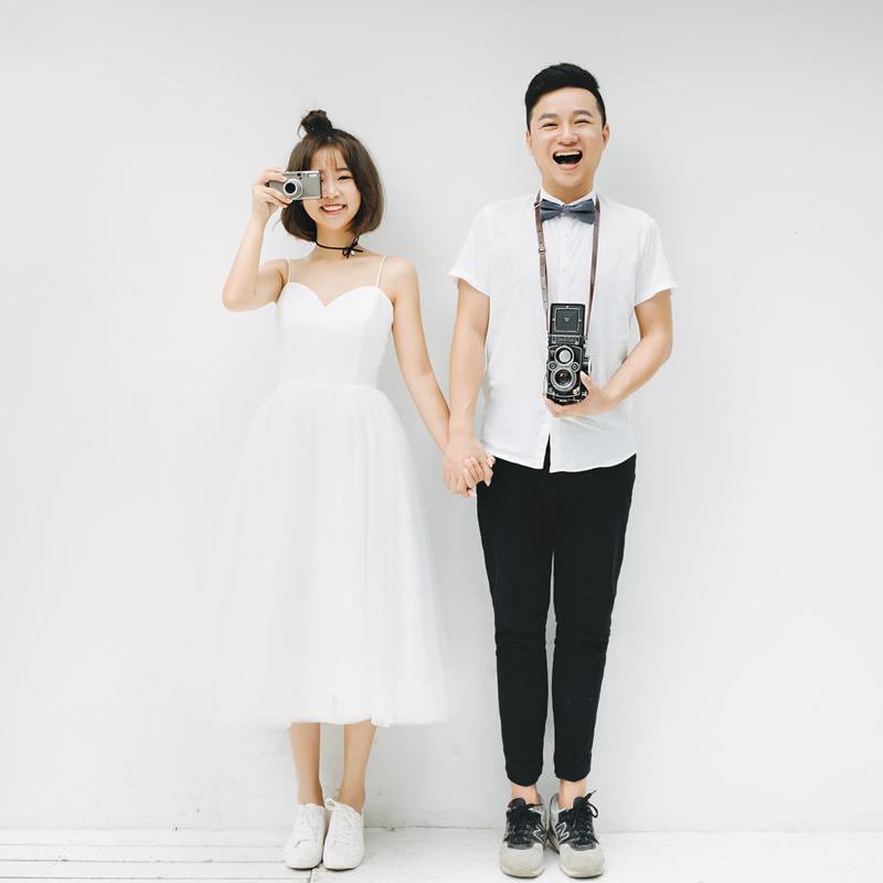 特价婚纱礼服女2017新款简约吊带短款森系旅拍清新情侣写真轻婚纱