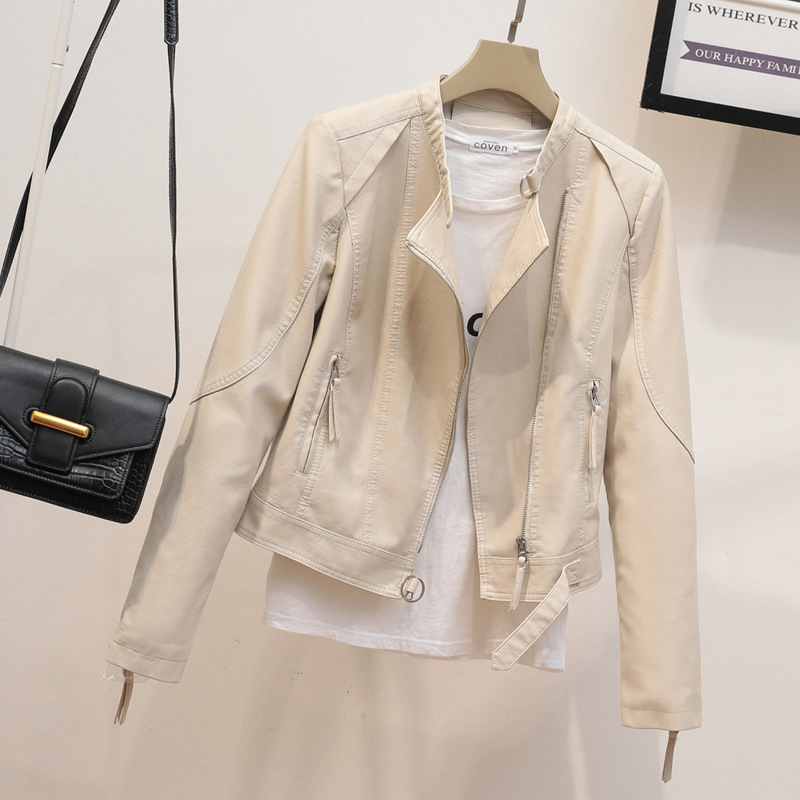 Spring and autumn beige leather coat womens short style autumn 2021 new Korean versatile collection stand collar motorcycle womens wear