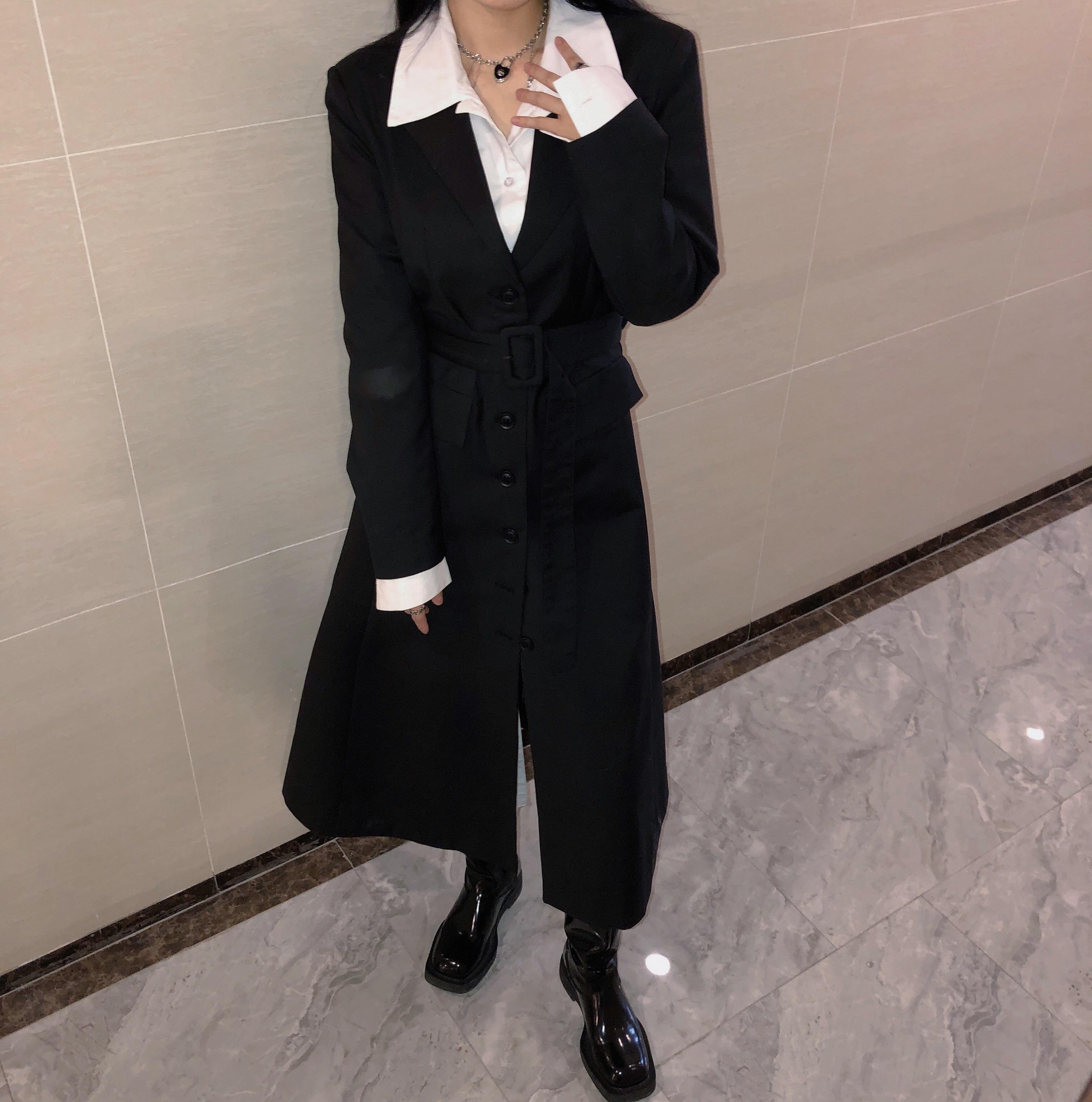 2021 designer autumn new slim womens dress slim windbreaker womens long coat ol commuter work dress