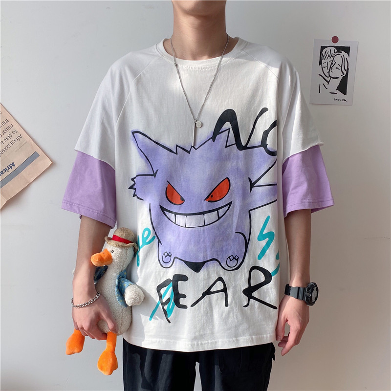Short sleeve t-shirt mens holiday two cartoon Geng GUI stone leisure day department short sleeve fashion brand youth fashion personality Campus