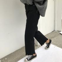 2019新款秋季韩版宽松不规则撕边九分阔腿裤显瘦高腰牛仔裤女裤子