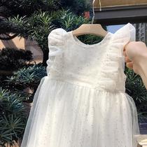 银色闪闪白色公主裙2021夏女童飞袖连衣裙宝宝薄款网纱裙背心裙子