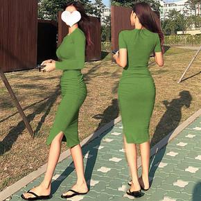 性感紧身包臀连衣裙女修身显瘦长袖褶皱中长款内搭打底t恤长裙秋