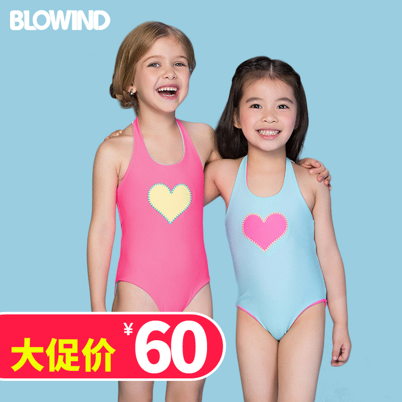 Childrens swimsuit childrens Girls Hot Spring Love sunscreen swimsuit quick drying lovely one-piece swimsuit