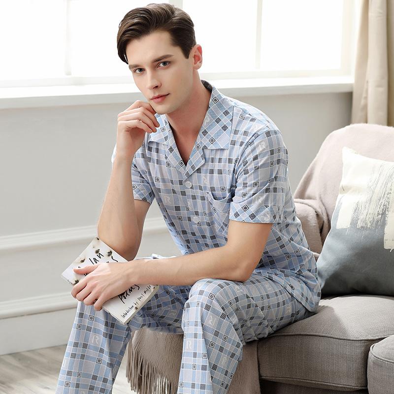 芬腾睡衣男士夏季纯棉短袖长裤格子印花开衫针织全棉套装家居服热销7件买三送一