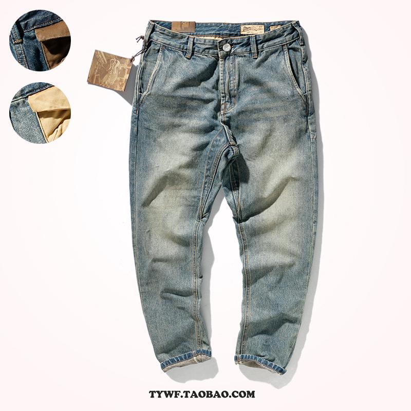 重磅牛仔裤男小脚美式休闲阿美咔叽做旧牛仔长裤男复古锥形直筒裤