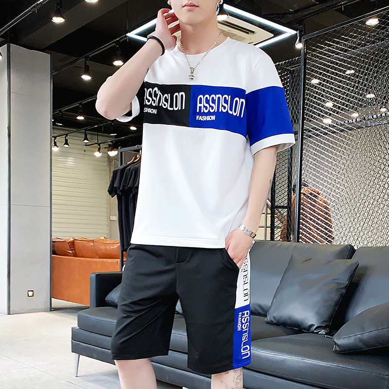 Mens T-shirt short sleeve trend casual suit summer mens suit with handsome clothes sports 2020 fashion brand