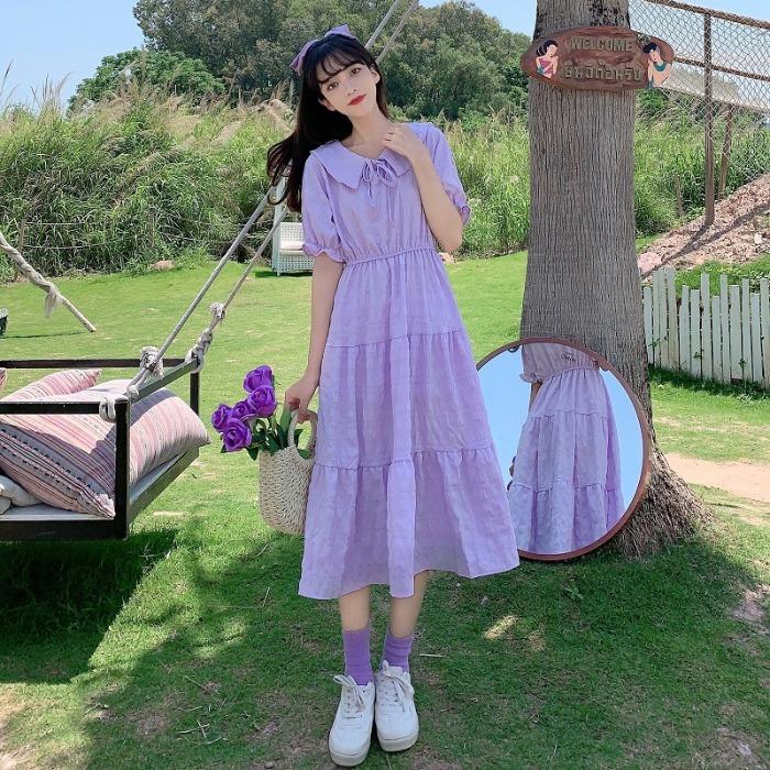 夏季2020新款法式温柔风紫色连衣裙女减龄娃娃领短袖学生过膝裙子图片