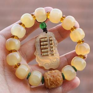 领3元券购买天然西藏羊角佛珠手串清热解凉配菩提根龙柱如意算盘男女式手链