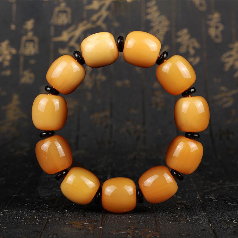 正宗天然西藏金丝牦牛角佛珠手串 金黄色桶珠男式牛角手链包邮