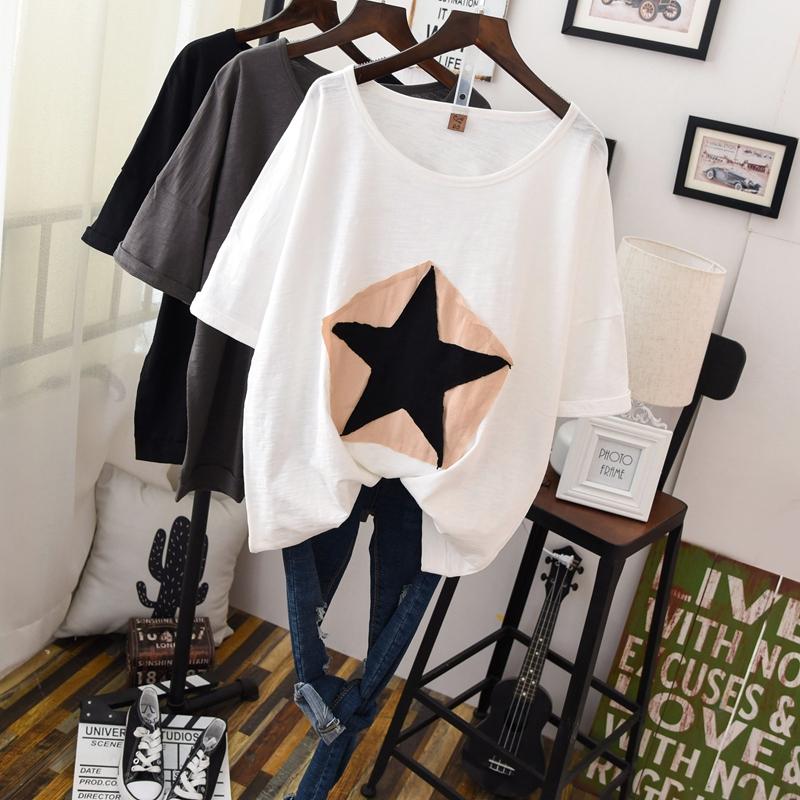 韩国微胖女装大码T恤夏装200斤胖mm时尚短袖休闲简约宽松显瘦半袖