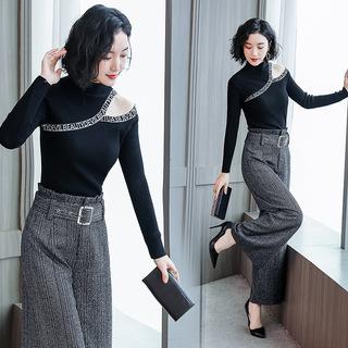 时尚休闲套装2019春季新款韩版针织衫气质阔腿裤两件套  YJ8901
