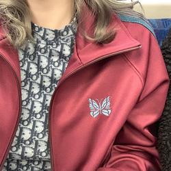 老夫子 needles 酒红色 蝴蝶外套 刺绣织带宽松夹克运动复古男女
