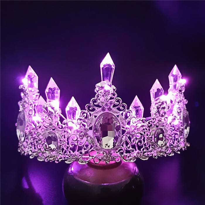 Bridal color lighting crown model birthday show crown wedding dress wedding accessories studio accessories
