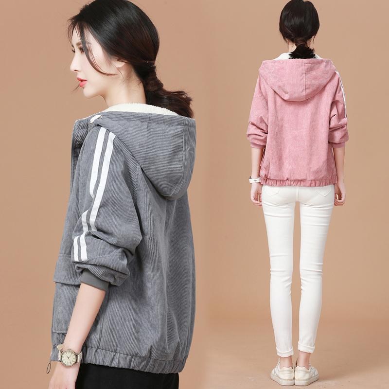 Winter hooded cashmere thickened cotton padded jacket cashmere imitation Jacket Womens short loose retro thickened corduroy jacket
