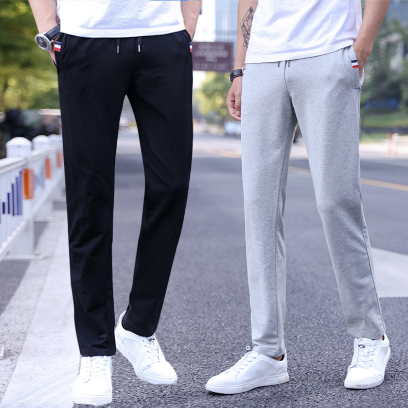Casual pants spring and autumn thin running pants mens autumn and winter plush cotton straight tube loose pants 361a