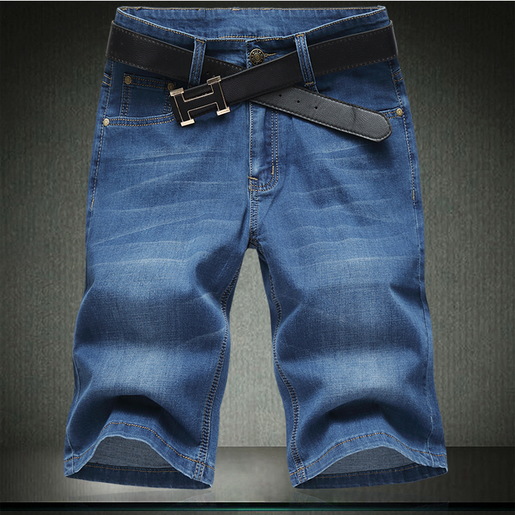 Summer business and leisure mens half pants ice silk cotton stretch jeans and breeches plus fat mens pants