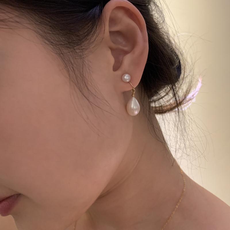 水滴形珍珠耳夹复古短款14K包金不褪色白色耳环无耳洞蚊香盘夹