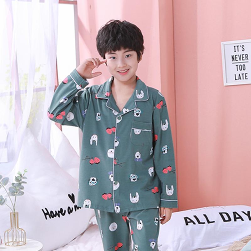 春秋新款小孩家居服卡通男童女童睡衣套装6535拉架棉 2207#