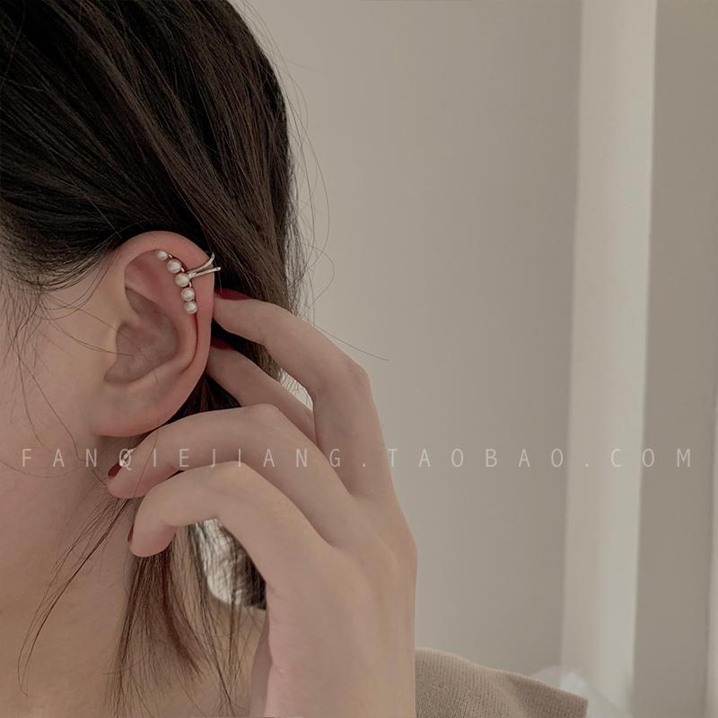 Advanced sense Pearl Earbone clip earclip no ear hole female Earrings simple cool temperament Korean personality Earrings