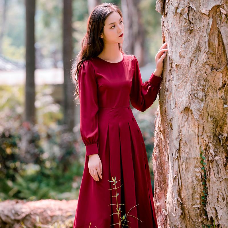 有赠品魅影仙女早秋连衣裙最新款法式智熏裙修身显瘦气质桔梗裙长袖长裙