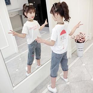 8韩版 短袖 中大童10时髦洋气12岁儿童纯棉上衣 女童夏装 T恤2019新款