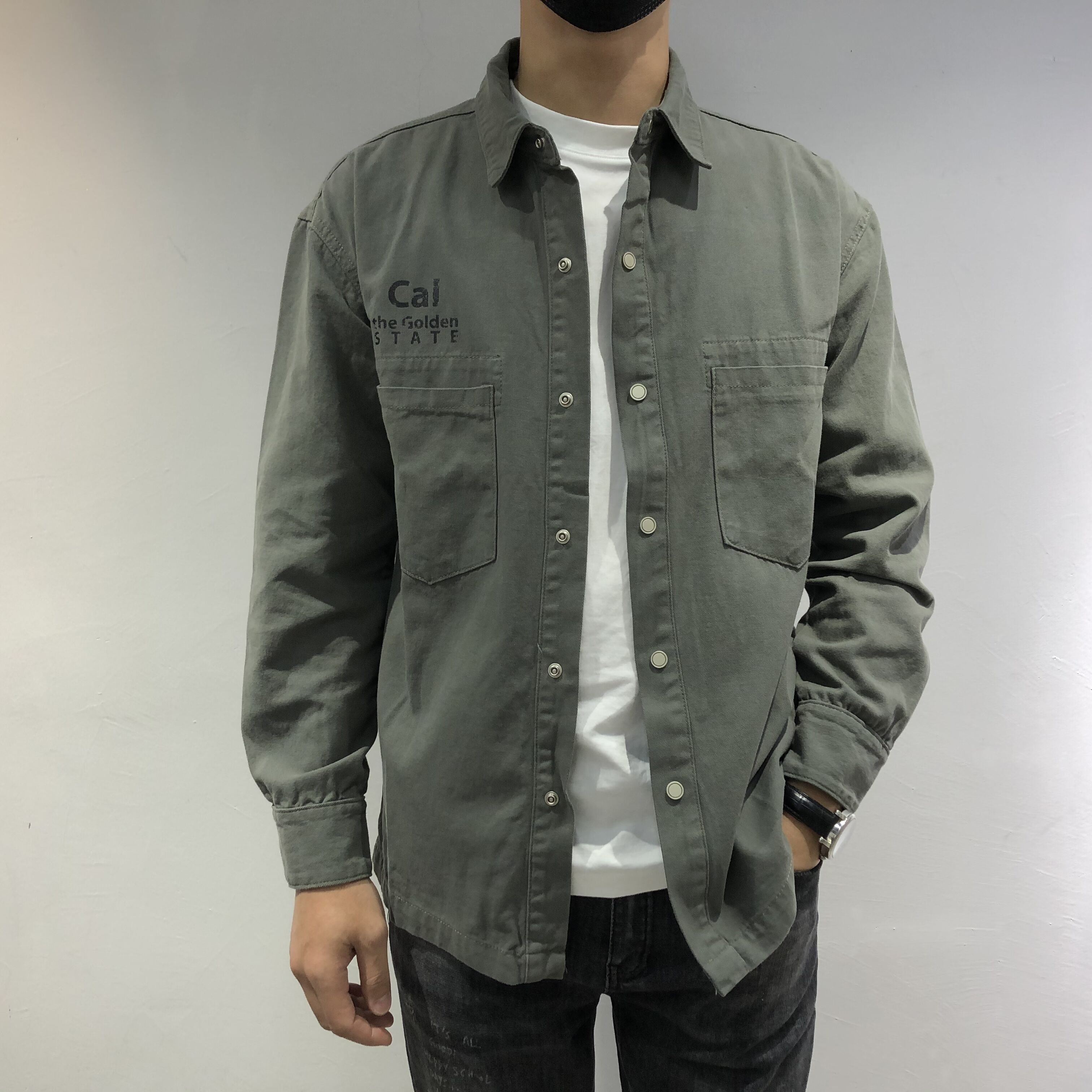 2020 European style autumn winter mens Denim astringent shirt