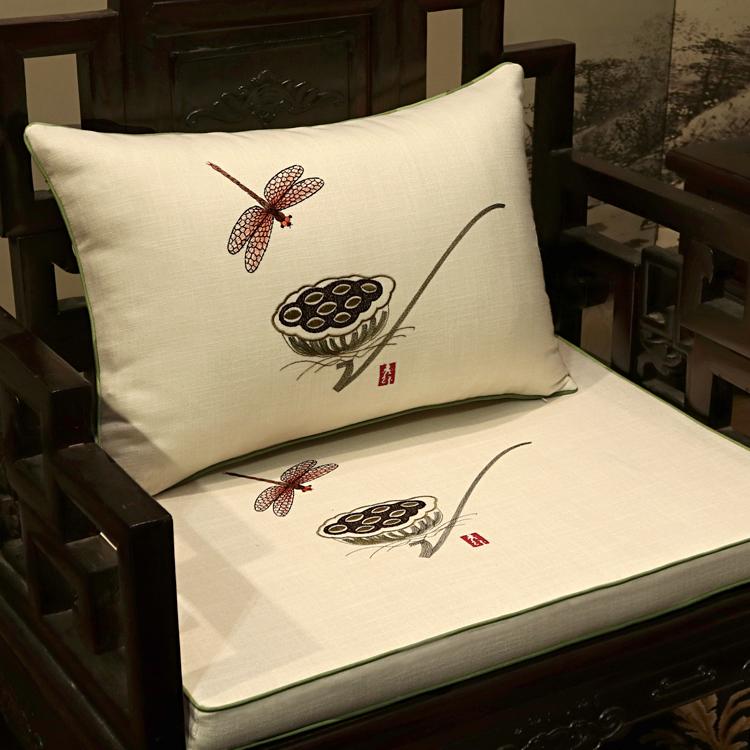 新中式红木亚麻带靠背实木加厚椅垫