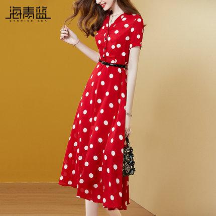 海青蓝红色波点气质连衣裙夏季2020年新款女装洋气收腰显瘦a字裙