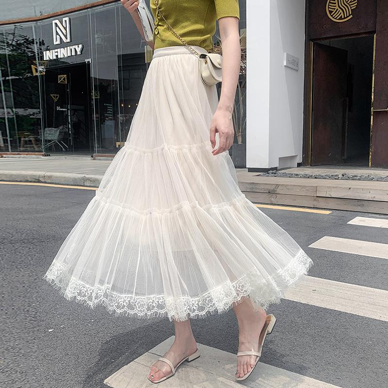 蛋糕半身裙女裝夏裝2020年春季新款網紗仙女超仙森系春秋百褶裙子