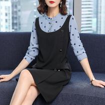 秋季2019年新款大码女装胖mm假两件中长款减龄洋气长袖连衣裙显瘦