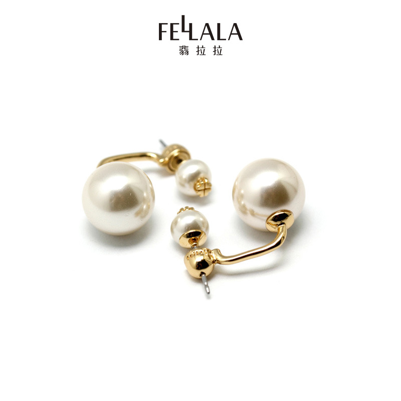 Fellala Fei Lala impression of Paris mother of pearl earrings double-sided temperament earrings female
