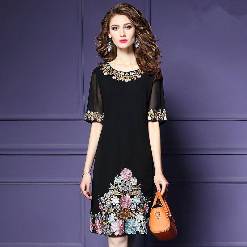 9192Y新款女黑色雪纺绣花连衣裙气质显瘦a型中裙子