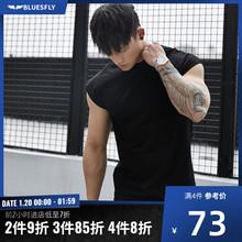 BLUESFLY 健身无袖T恤男士速干训练运动背心高弹圆领短袖宽松上衣