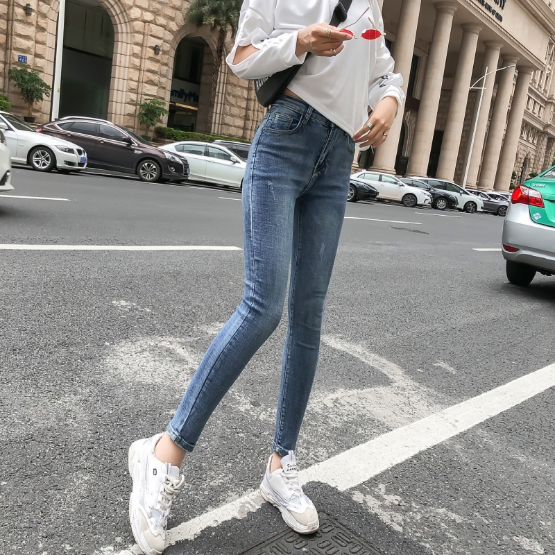 High waist jeans women 2020 new Korean tight legged nine legged pants with plush and thin ins super fire pants