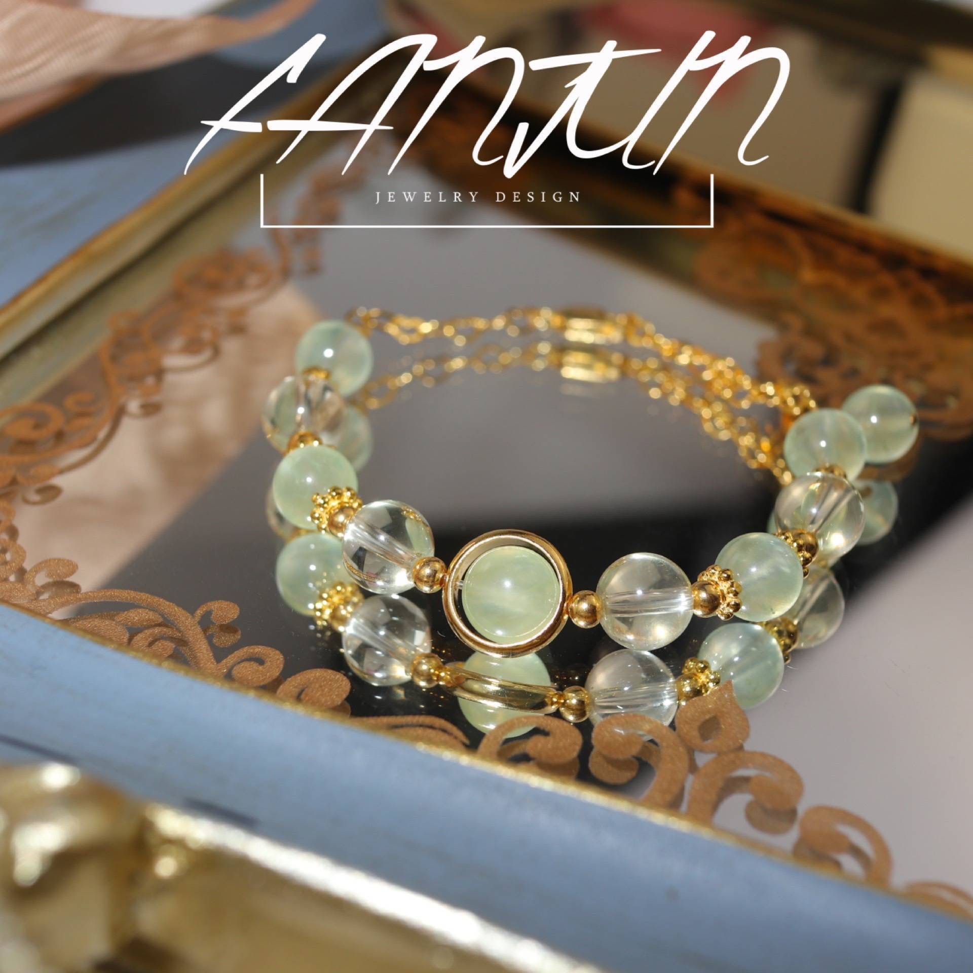 Fan Juns new style freshly baked pure silver gold-plated natural Topaz grape stone bracelet for women