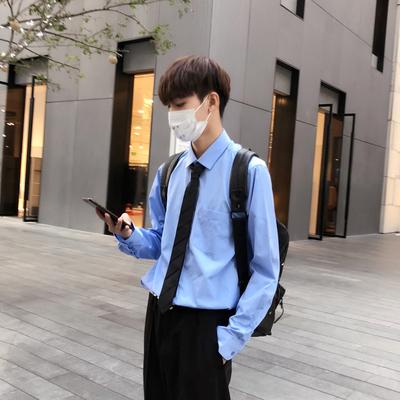 C29*2018春装新纯色修身大码蓝色男士长袖衬衫衬衣 特P40 控58