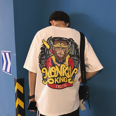 Y232*ins超火上衣男女情侣宽松恶搞logo趣味印花短袖T恤 P40控49