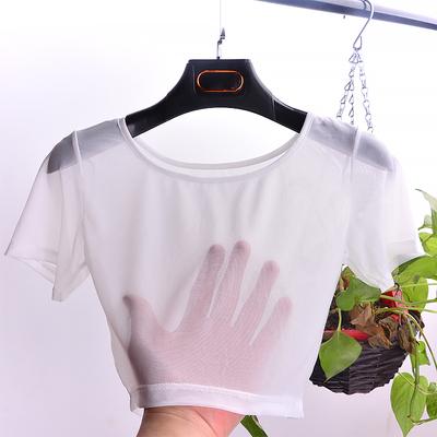 网纱上衣女性感防晒内搭薄纱衣配吊带裙的罩衫半截短款蕾丝打底衫