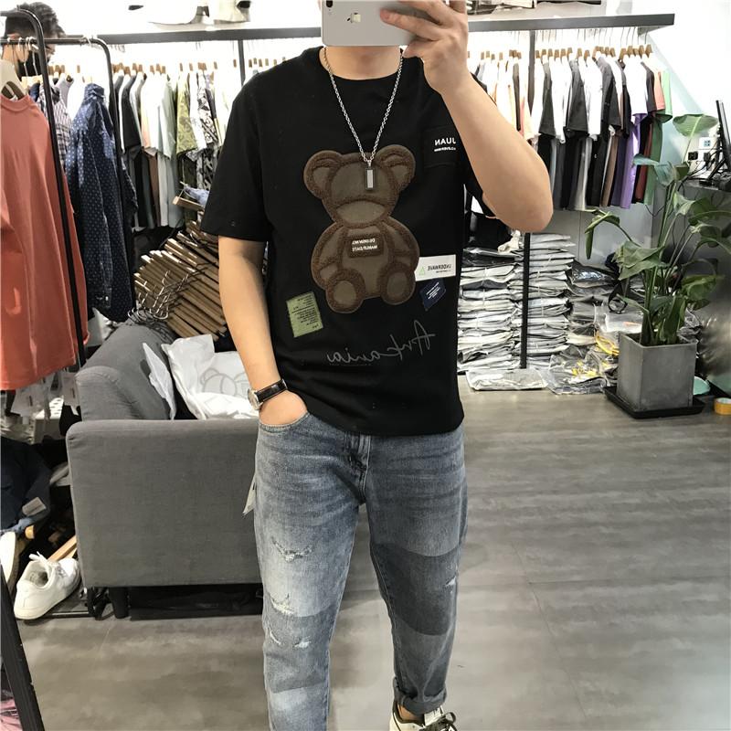 2021夏季新款男短袖T恤卡通动漫刺绣贴标半袖情侣上衣纯棉休闲潮
